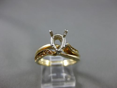 ANTIQUE 14K WHITE & YELLOW GOLD FILIGREE SEMI MOUNT WEDDING ANNIVERSARY BAND SET