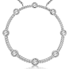 ESTATE .25CT DIAMOND 14KT WHITE GOLD 3D CLASSIC ETOILE CIRCLE OF LIFE NECKLACE