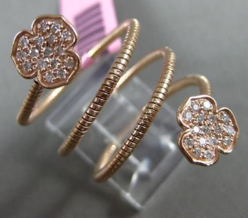 ESTATE WIDE .40CT DIAMOND 14KT ROSE GOLD 3D 3 CLOVER FLOWER FLEXIBLE LOVE RING