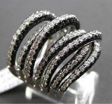 ESTATE LARGE 5.04CT DIAMOND 18K WHITE GOLD 3 DIMENSIONAL MULTI ROW COCKTAIL RING
