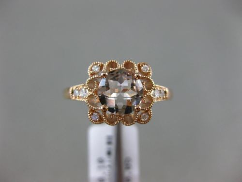 .95CT DIAMOND & AAA ROUND MORGANITE 14KT ROSE GOLD 3D FILIGREE ENGAGEMENT RING