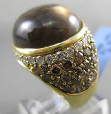 ESTATE MASSIVE 22.24CT DIAMOND & SMOKEY TOPAZ 18KT YELLOW GOLD 3D COCKTAIL RING