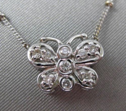 ANTIQUE .20CT DIAMOND 14KT WHITE & YELLOW GOLD 3D ETOILE BUTTERFLY NECKLACE #349