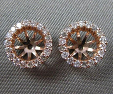 ESTATE .40CT DIAMOND 14KT ROSE GOLD 3D ROUND CLASSIC JACKET EARRINGS BEAUTIFUL!