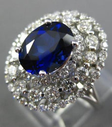 LARGE 3.67CT DIAMOND & AAA SAPPHIRE 14KT WHITE GOLD HALO ENGAGEMENT RING #25913