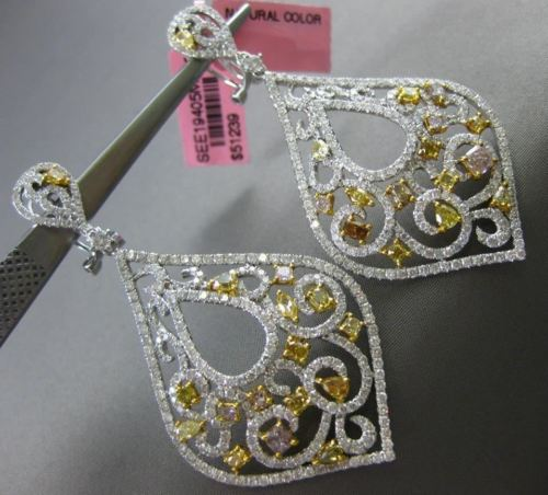 LARGE 8.11CT WHITE & FANCY COLOR DIAMONDS 18KT GOLD FILIGREE HANGING EARRINGS