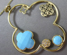 ESTATE LARGE .19CT DIAMOND & TURQUOISE 14KT YELLOW GOLD 4 LEAF CLOVER NECKLACE