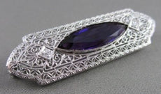 ANTIQUE LARGE 4.07CT OLD MINE AMETHYST & DIAMOND FILIGREE 14K W PIN BROOCH 22118