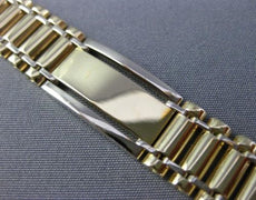 ESTATE WIDE LONG 14KT WHITE & YELLOW GOLD 3D CLASSIC HANDCRAFTED MENS BRACELET