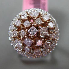 ESTATE LARGE GIA 1.41CT MULTI COLOR DIAMOND 18KT WHITE & ROSE GOLD COCKTAIL RING