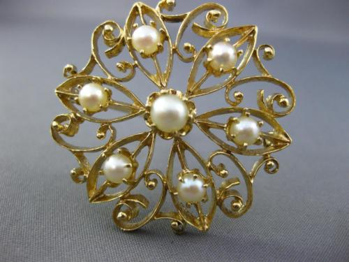 ANTIQUE LARGE AAA SOUTH SEA PEARL 14KT YELLOW GOLD HANDCRAFTED FILIGREE BROOCH