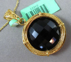 ESTATE 25CT BLACK ONYX 18KT YELLOW GOLD 3D HANDCRAFTED FILIGREE NEST PENDANT