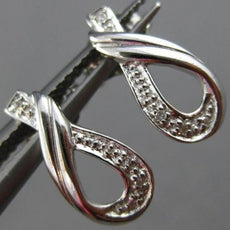 ESTATE .03CT DIAMOND 14KT WHITE GOLD LOVE KNOT INFINITY AWARENESS STUD EARRINGS
