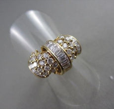 ESTATE LARGE 1.20CT DIAMOND BAGUETTE & ROUND 18KT YELLOW COCKTAIL RING #14062