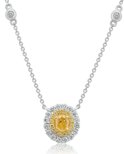 ESTATE 1.07CT WHITE & FANCY YELLOW DIAMOND 18KT 2 TONE GOLD DOUBLE HALO NECKLACE