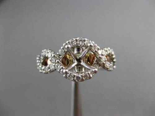 LARGE .75CT DIAMOND 14K WHITE & ROSE GOLD 3D FILIGREE SEMI MOUNT ENGAGEMENT RING