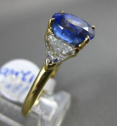 ESTATE EXTRA LARGE 5.69CT DIAMOND & AAA SAPPHIRE 18K YELLOW GOLD ENGAGEMENT RING