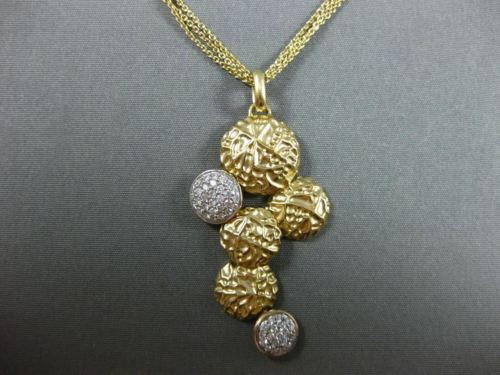 LARGE .44CT DIAMOND 14K YELLOW GOLD HAMMERED LOOK ELONGATED MULTI CHAIN NECKLACE