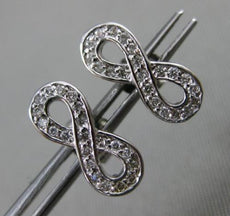 ESTATE .18CT DIAMOND 14KT WHITE GOLD 3D BOW INFINITY LOVE STUD EARRINGS