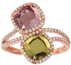 ESTATE 3.0CT DIAMOND & GREEN PINK QUARTZ 14KT ROSE GOLD 3D SQUARE HALO FUN RING