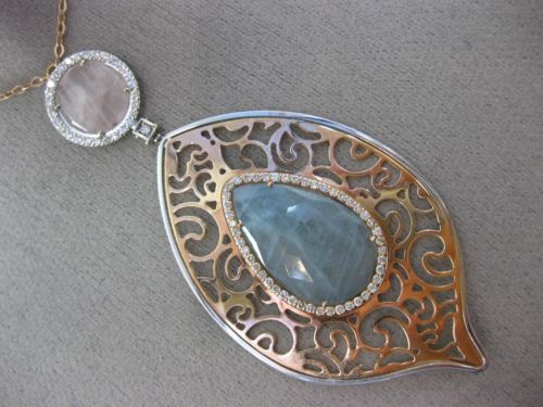 LARGE 1.2CT DIAMOND & AGATE & AQAUMARINE 14K WHITE & ROSE GOLD FILIGREE NECKLACE