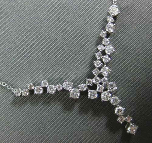 ESTATE 1.0CT DIAMOND 14KT WHITE GOLD CLUSTER V SHAPE FUN LOVE FLOATING NECKLACE