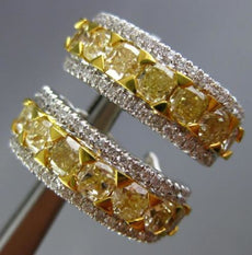 ESTATE WIDE 4.31CT WHITE & FANCY YELLOW DIAMOND 18K 2 TONE GOLD CLIP ON EARRINGS