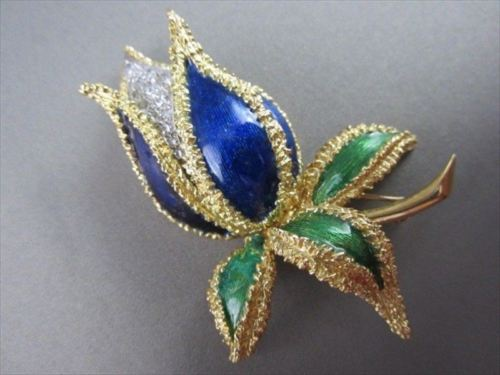 ANTIQUE LARGE .60CT DIAMOND BLUE & GREEN ENAMEL 18KT Y&W FLOWER PIN BROOCH #1902