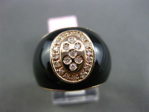 ANTIQUE .20CT DIAMOND & AAA ONYX 14KT ROSE GOLD 3D ITALY OVAL ETOILE BUTTON RING