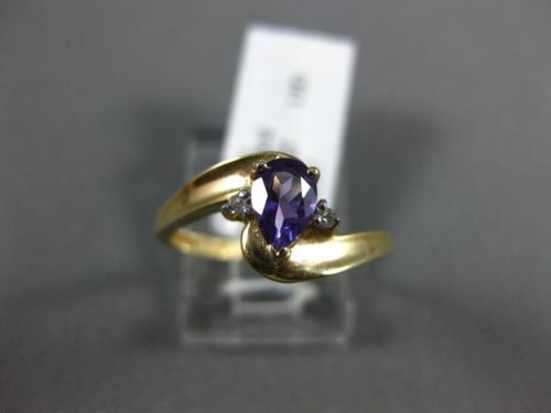 .52CT DIAMOND & AAA PEAR SHAPE AMETHYST 14KT YELLOW GOLD 3D 3 STONE PROMISE RING