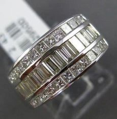 ESTATE WIDE 2.43CT DIAMOND 18KT WHITE GOLD BAGUETTE & PRINCESS ANNIVERSARY RING