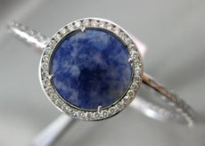 ESTATE LARGE .52CT DIAMOND & SAPPHIRE 14K WHITE GOLD ROUND HALO BANGLE BRACELET