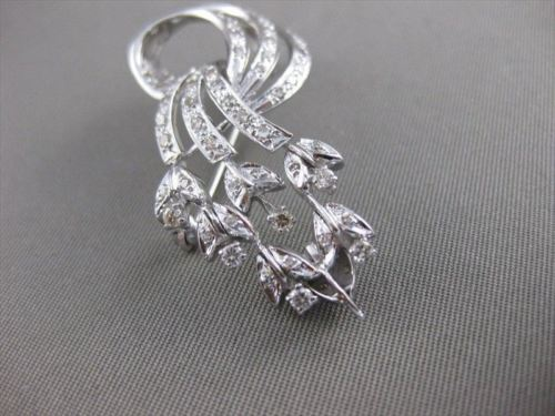 ANTIQUE 1.30CT EURO MINE DIAMOND FLOWER FILIGREE 14K GOLD DECO PIN PENDANT 21522