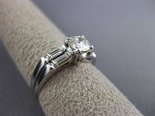 ANTIQUE .74CT ROUND & BAGUETTE DIAMOND 18KT GOLD ENGAGEMENT WEDDING RING #21860