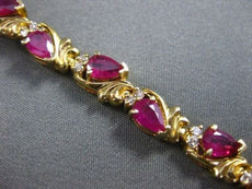 ANTIQUE WIDE 7.50CTW DIAMOND & AAA RUBY 14KT YELLOW GOLD TENNIS BRACELET #1492