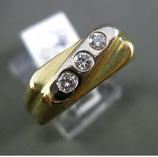 ESTATE .23CT DIAMOND 14KT YELLOW GOLD CLASSIC 3D 3 STONE ETOILE MENS GYPSY RING