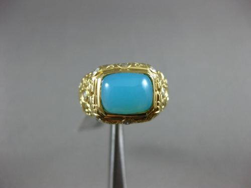 ESTATE WIDE 3.25CT DIAMOND & BLUE AGATE 18KT YELLOW GOLD SQUARE HANDCRAFTED RING