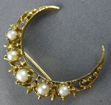 ANTIQUE LARGE AAA SOUTH SEA PEARL 14KT YELLOW GOLD OPEN FILIGREE MOON BROOCH PIN