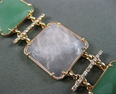 ESTATE WIDE & LONG 1.45CT DIAMOND & AVENTURINE 14KT ROSE GOLD 3D SQUARE BRACELET