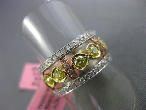 ESTATE WIDE GIA 1.10CT DIAMOND 18KT TRI COLOR GOLD 3D WEDDING ANNIVERSARY RING