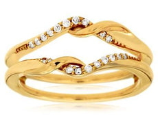 ESTATE .12CT DIAMOND 14KT YELLOW GOLD LOVE KNOT INSERT WEDDING ANNIVERSARY RING