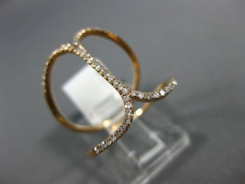 ESTATE WIDE .22CT ROUND DIAMOND 14KT ROSE GOLD 3D LOVE KNOT FUN FRIENDSHIP RING