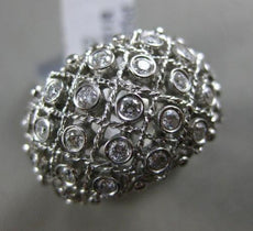 ESTATE LARGE .55CT DIAMOND 18K WHITE GOLD 3D MULTI ROW ETOILE OPEN COCKTAIL RING
