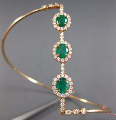 ESTATE EXTRA LARGE 1.96CT PINK DIAMOND & AAA EMERALD 18K ROSE GOLD LOVE BRACELET