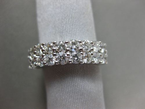 WIDE 1.40CT DIAMOND 18KT WHITE GOLD 3D DOUBLE ROW SEMI ETERNITY ANNIVERSARY RING