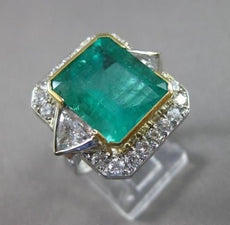 ANTIQUE EXTRA LARGE 10.40CT DIAMOND & AAA COLOMBIAN EMERALD 18KT W&Y GOLD RING