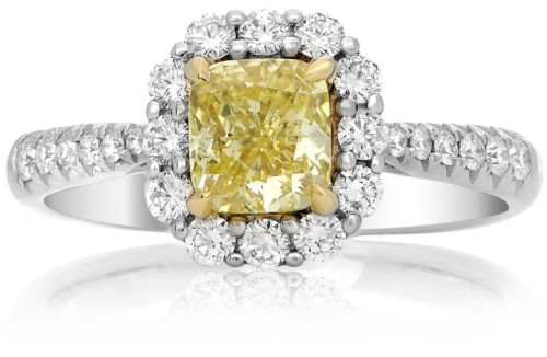 1.48CT WHITE & FANCY YELLOW DIAMOND 18KT YELLOW GOLD & PLATINUM ENGAGEMENT RING