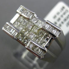 WIDE 1.15CT BAGUETTE & PRINCESS DIAMOND 14KT WHITE GOLD 3D MENS RECTANGULAR RING