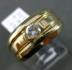 ESTATE WIDE .23CT DIAMOND ROUND 14KT YELLOW GOLD SOLITAIRE MENS GYPSY RING