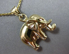 ESTATE 14KT YELLOW GOLD 3D HANDCRAFTED LUCKY ELEPHANT CHARM PENDANT CHAIN #25309